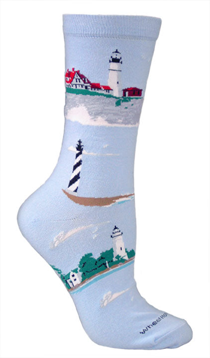 Lighthouses Crew Socks on Light Blue