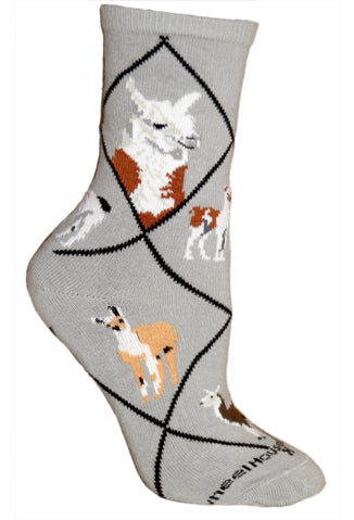 Llama Crew Socks on Gray