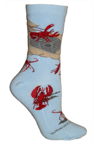 Lobster Crew Socks on Light Blue