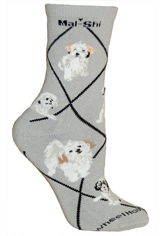 Mal-Shi Crew Socks on Gray