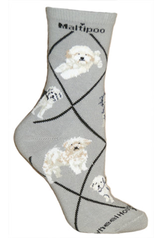 Maltipoo Crew Socks on Gray