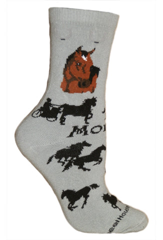 Morgan Crew Socks on Gray