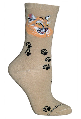 Mountain Lion Crew Socks on Khaki