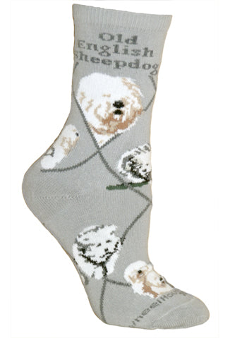 Old English Sheepdog Crew Socks on Gray