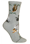 Owls Crew Socks on Gray