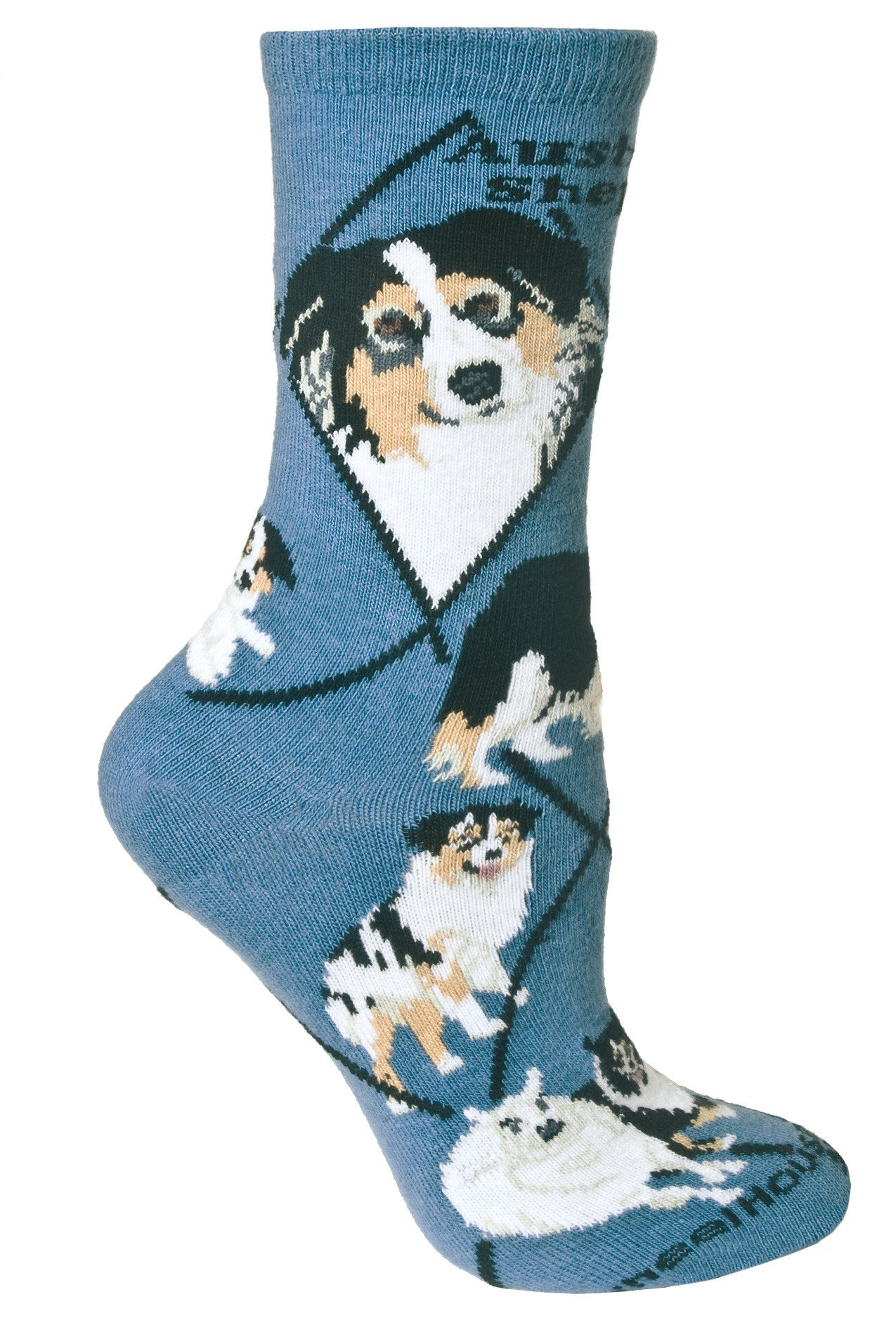 Australian Shepherd Crew Socks on Blue