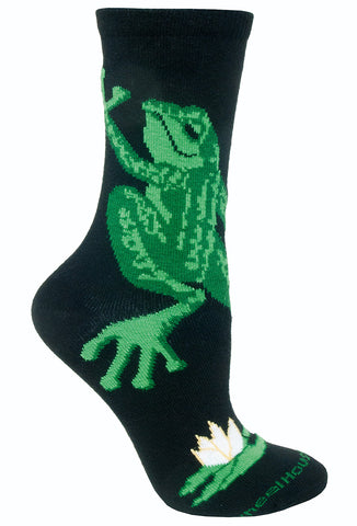 Frog Hug on Black Socks