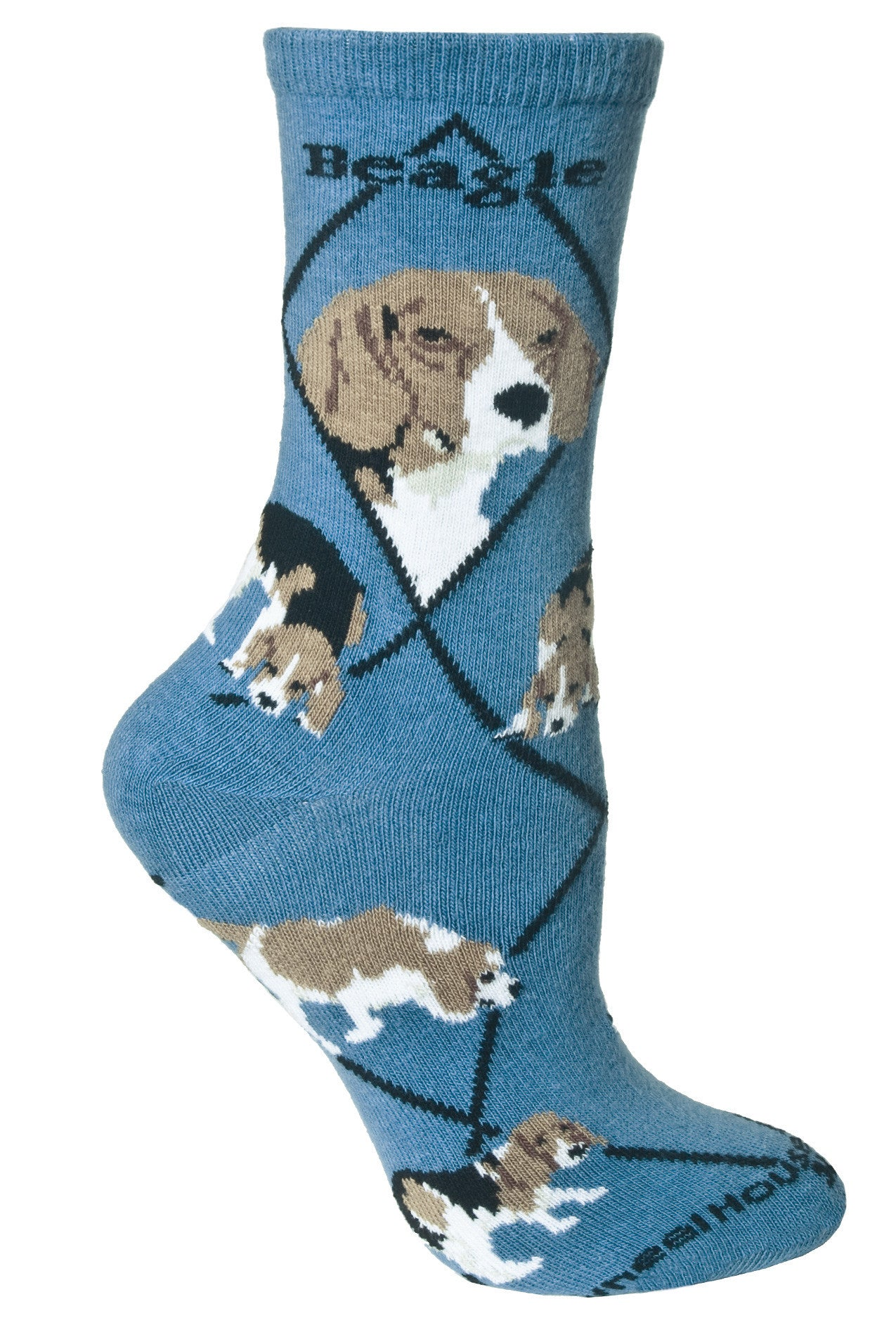 Beagle Crew Socks on Blue