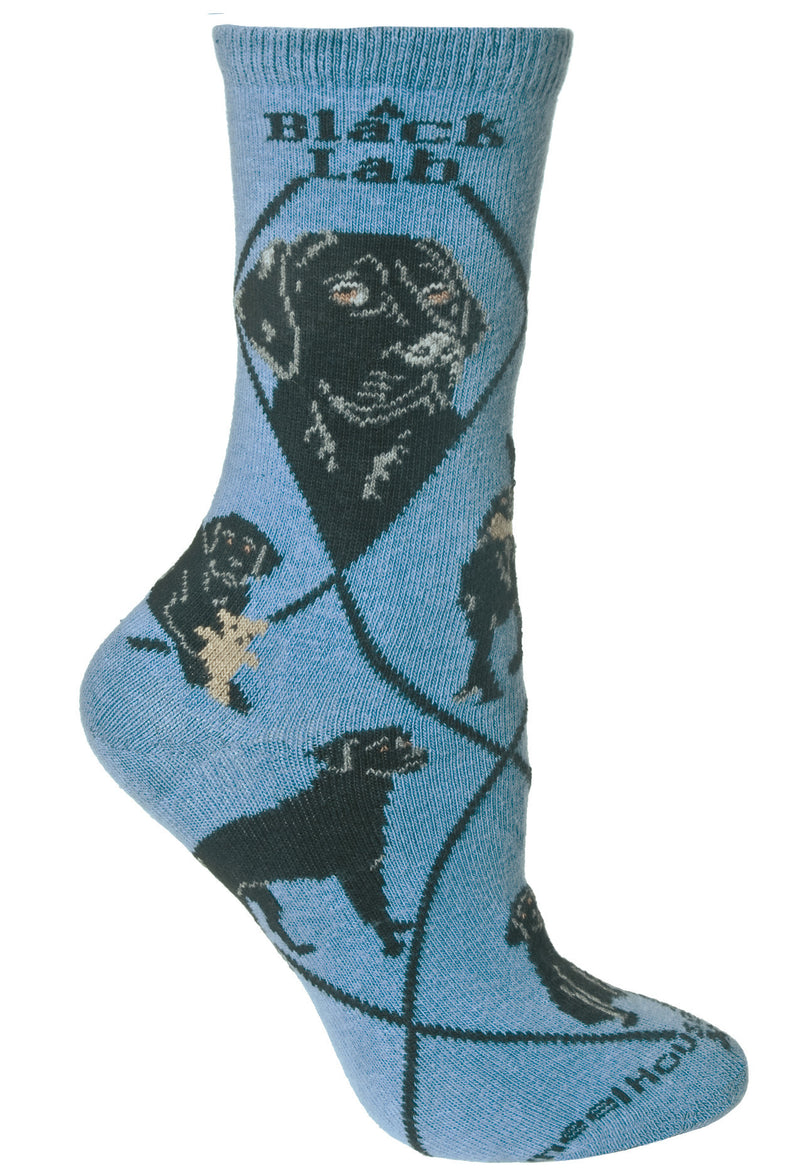 Black Labrador Retriever on Blue Crew Socks