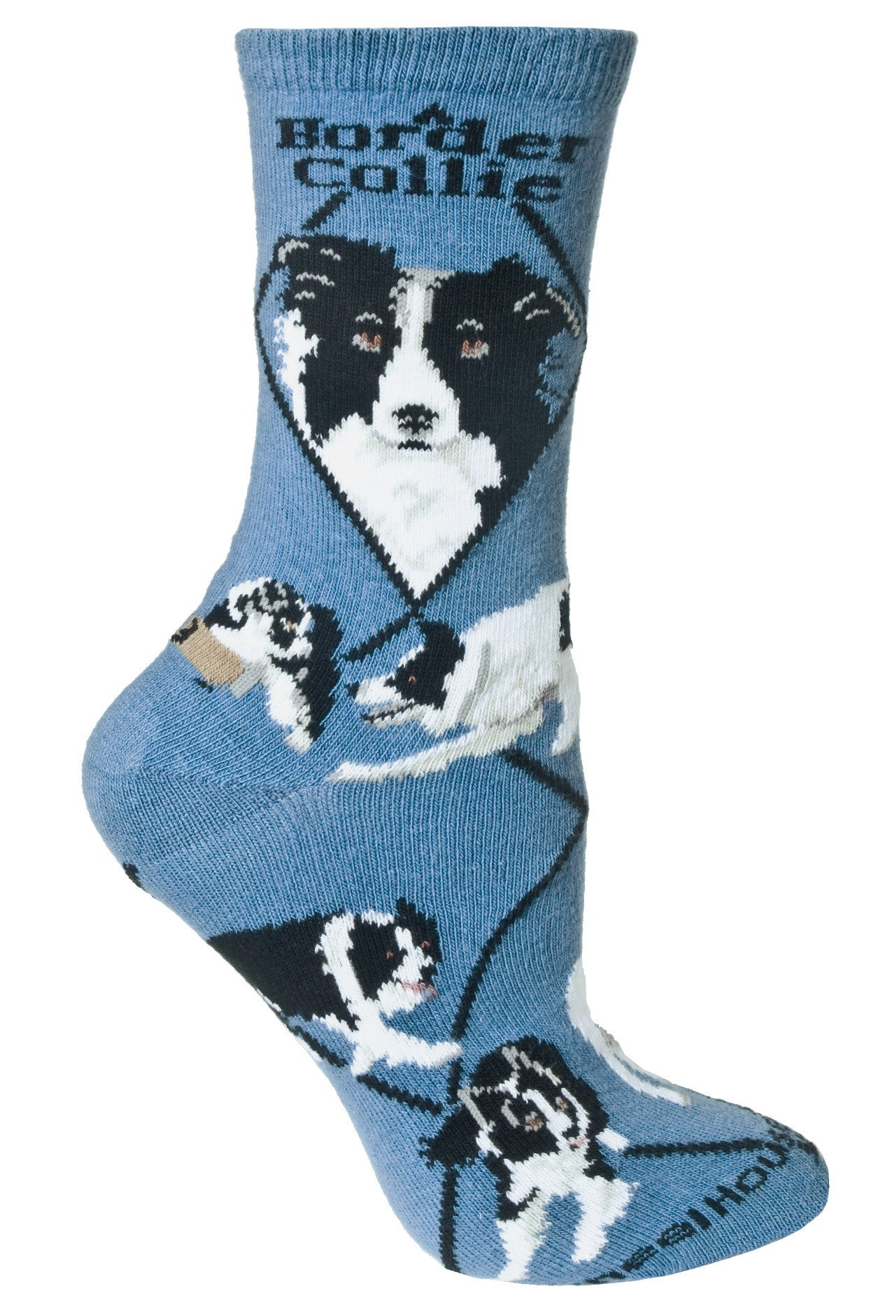 Border Collie Crew Socks on Blue