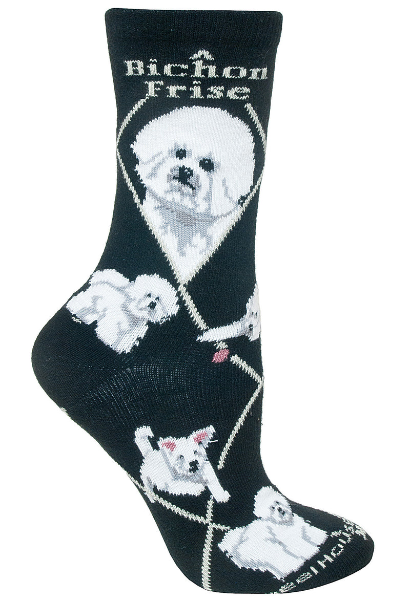 Bichon Frise Crew Socks on Black