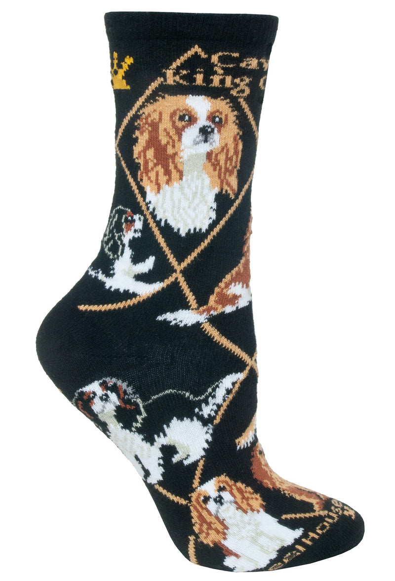 Cavalier King Charles Spaniel Crew Socks on Black
