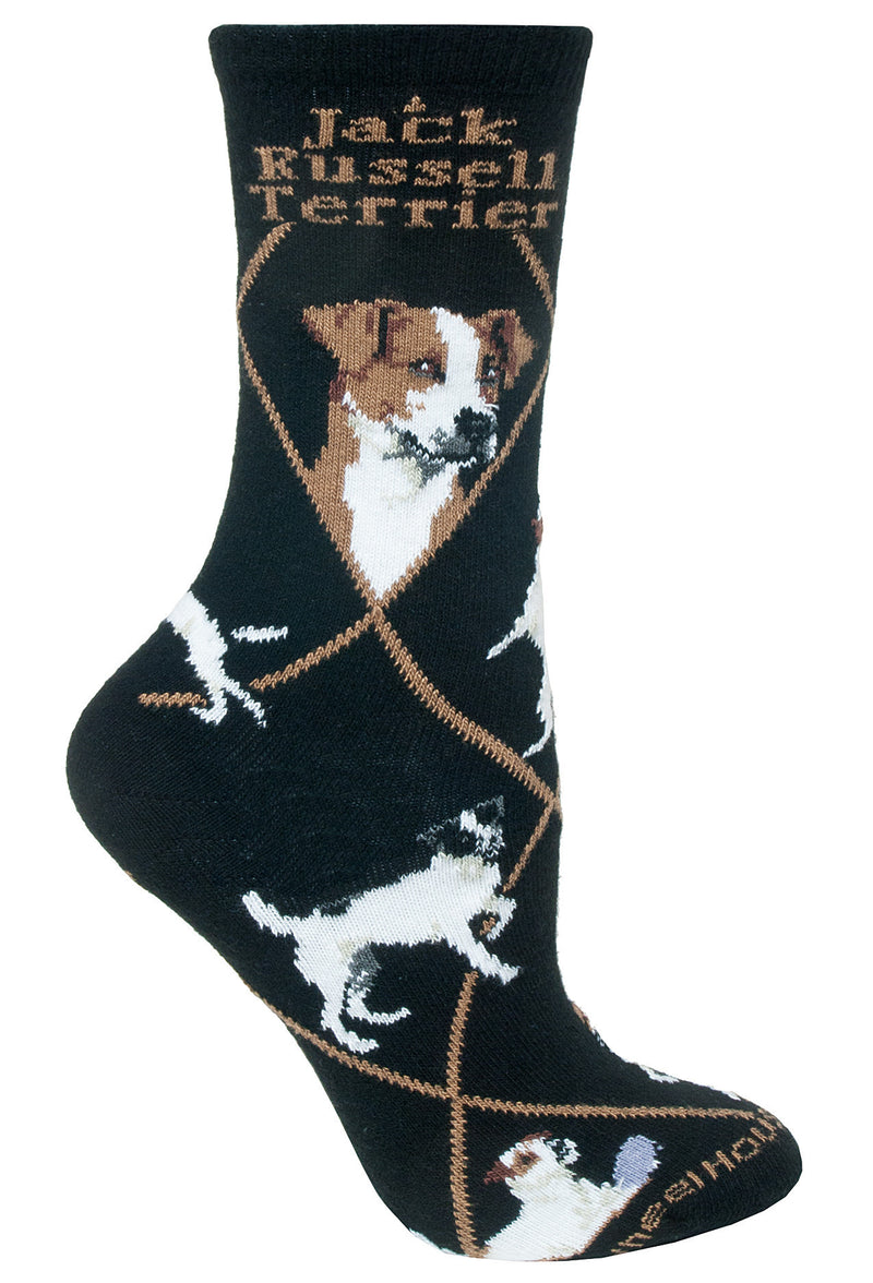 Jack Russell Terrier Crew Socks on Black