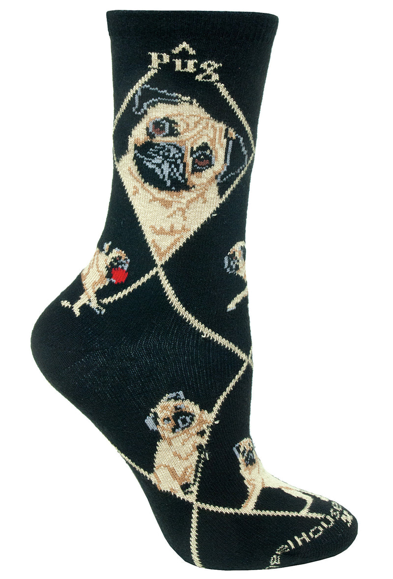 Fawn Pug on Black Crew Socks
