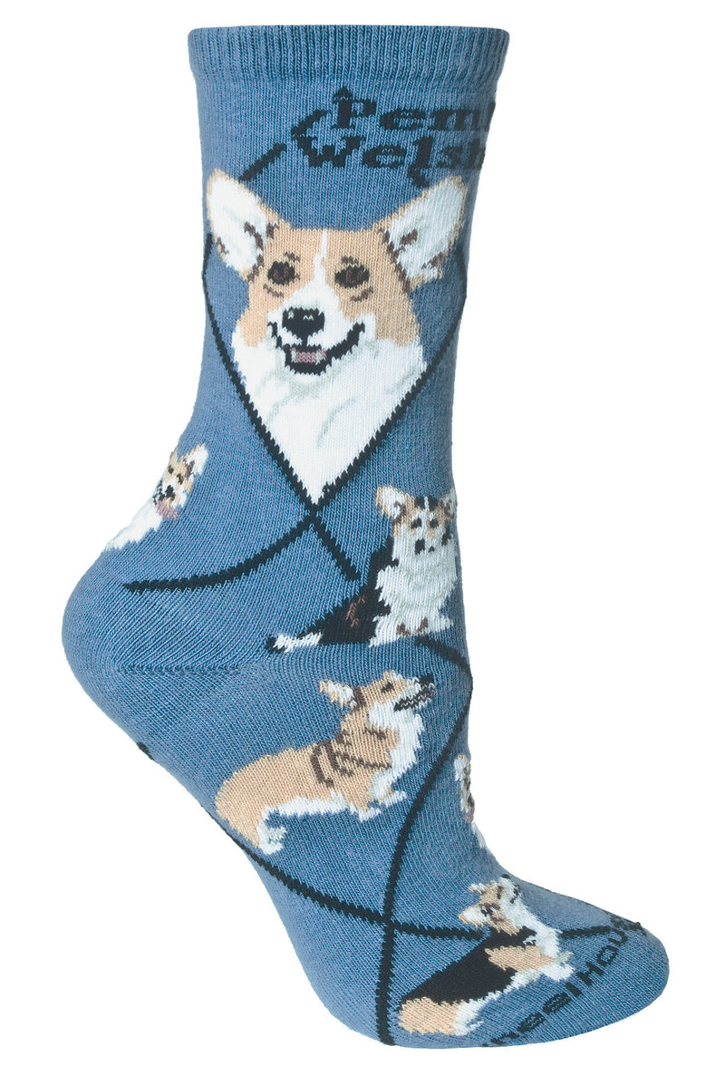 Corgi, Pembroke Welsh Crew Socks on Blue