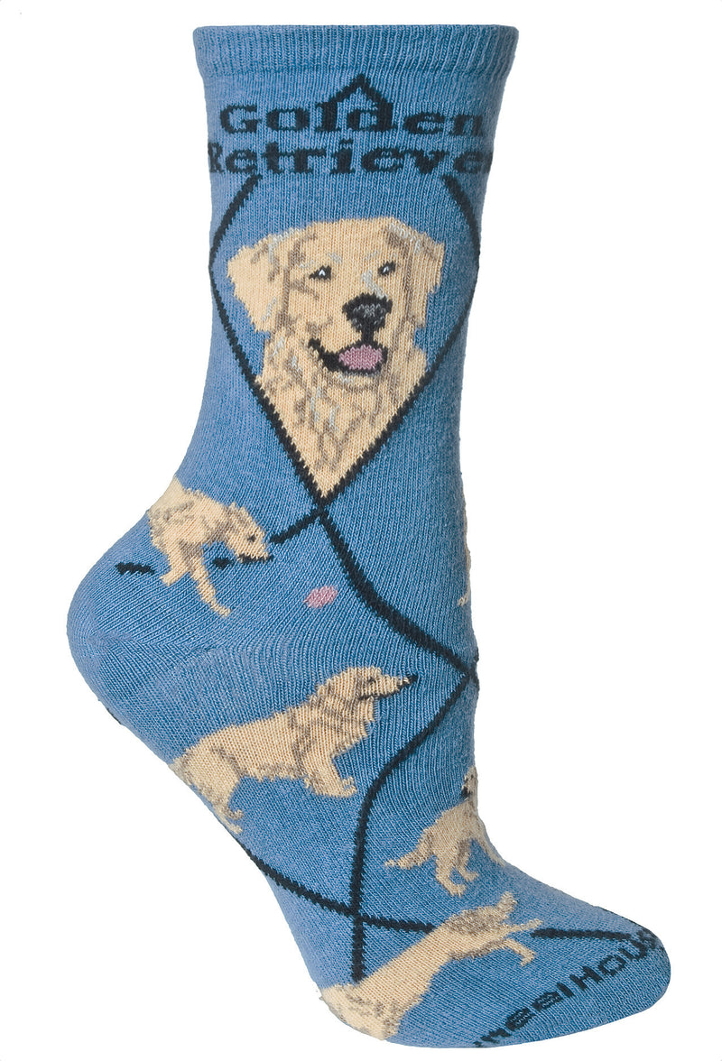 Golden Retriever Crew Socks on Blue