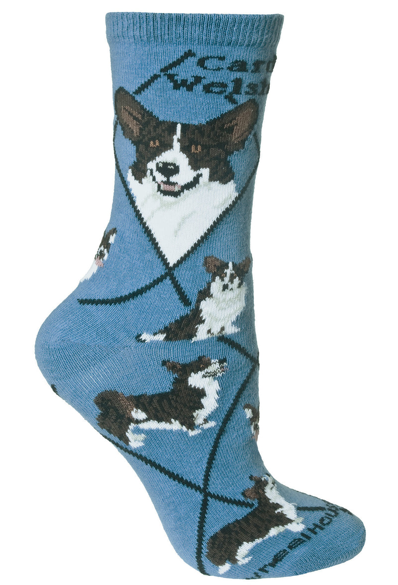 Corgi, Cardigan Welsh Crew Socks on Blue