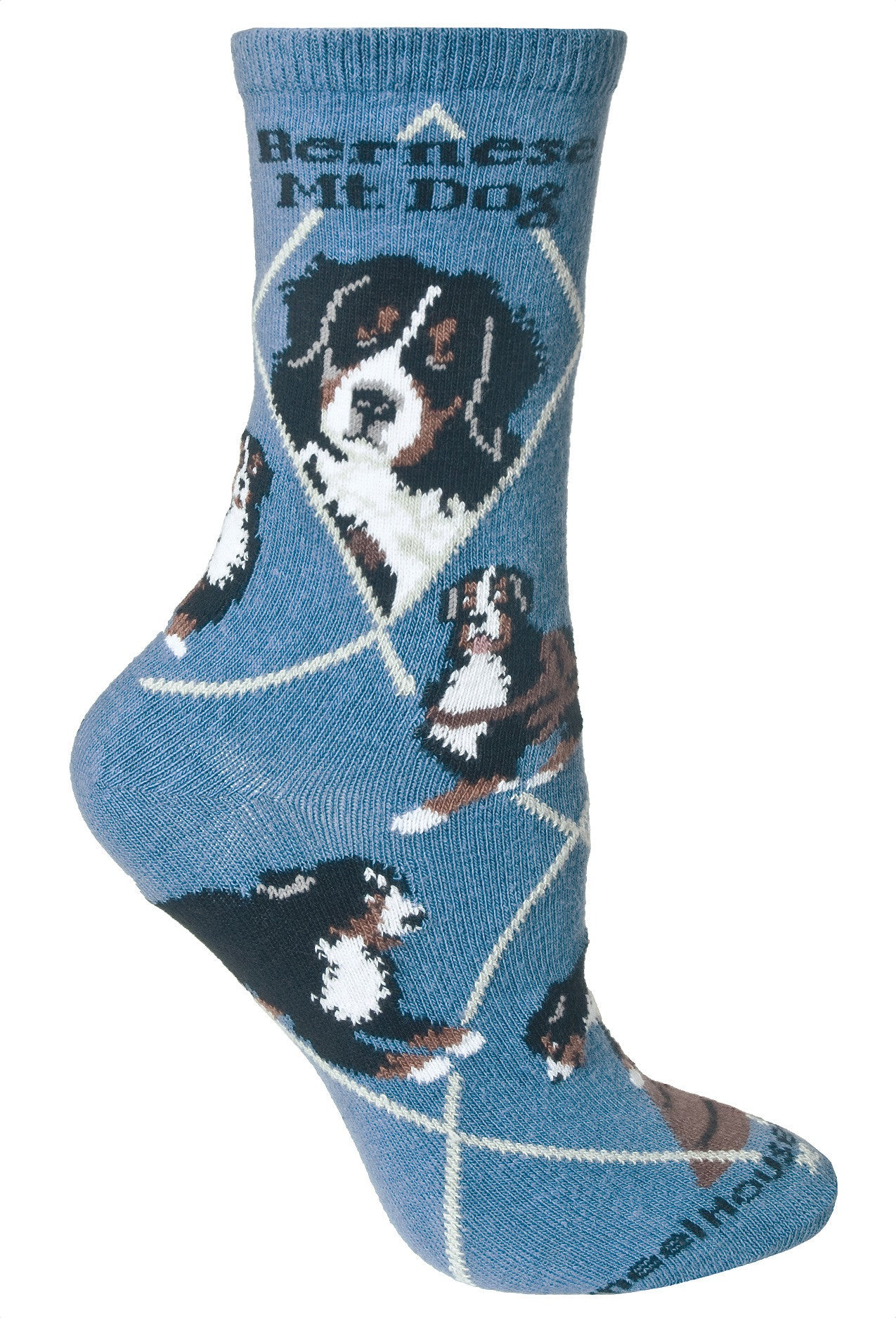 Bernese Mountain Dog Crew Socks on Blue
