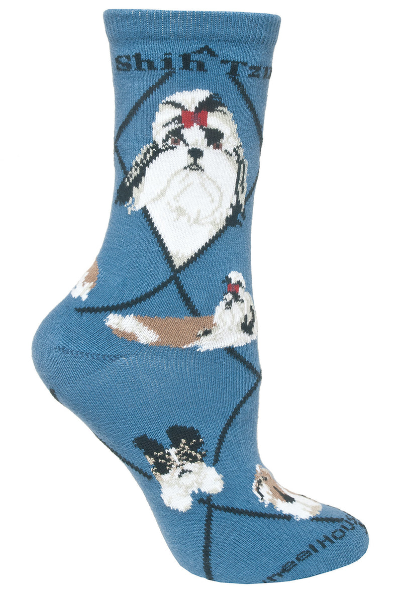 Shih Tzu Crew Socks on Blue