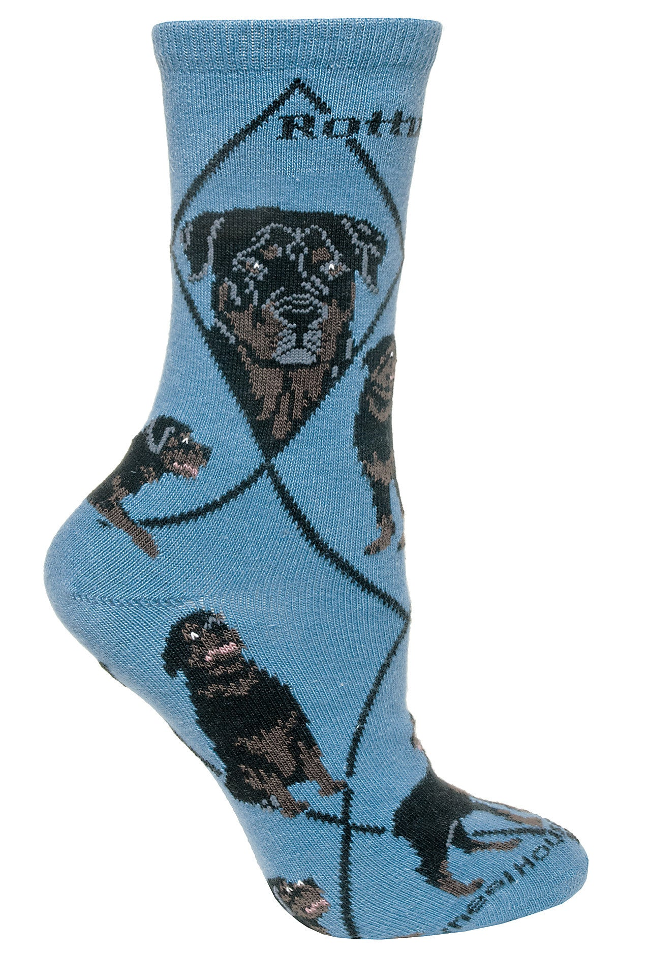 Rottweiler Crew Socks on Blue
