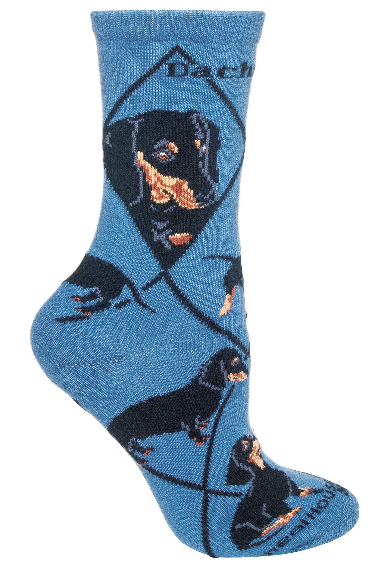 Black Dachshunds on Blue Crew Socks