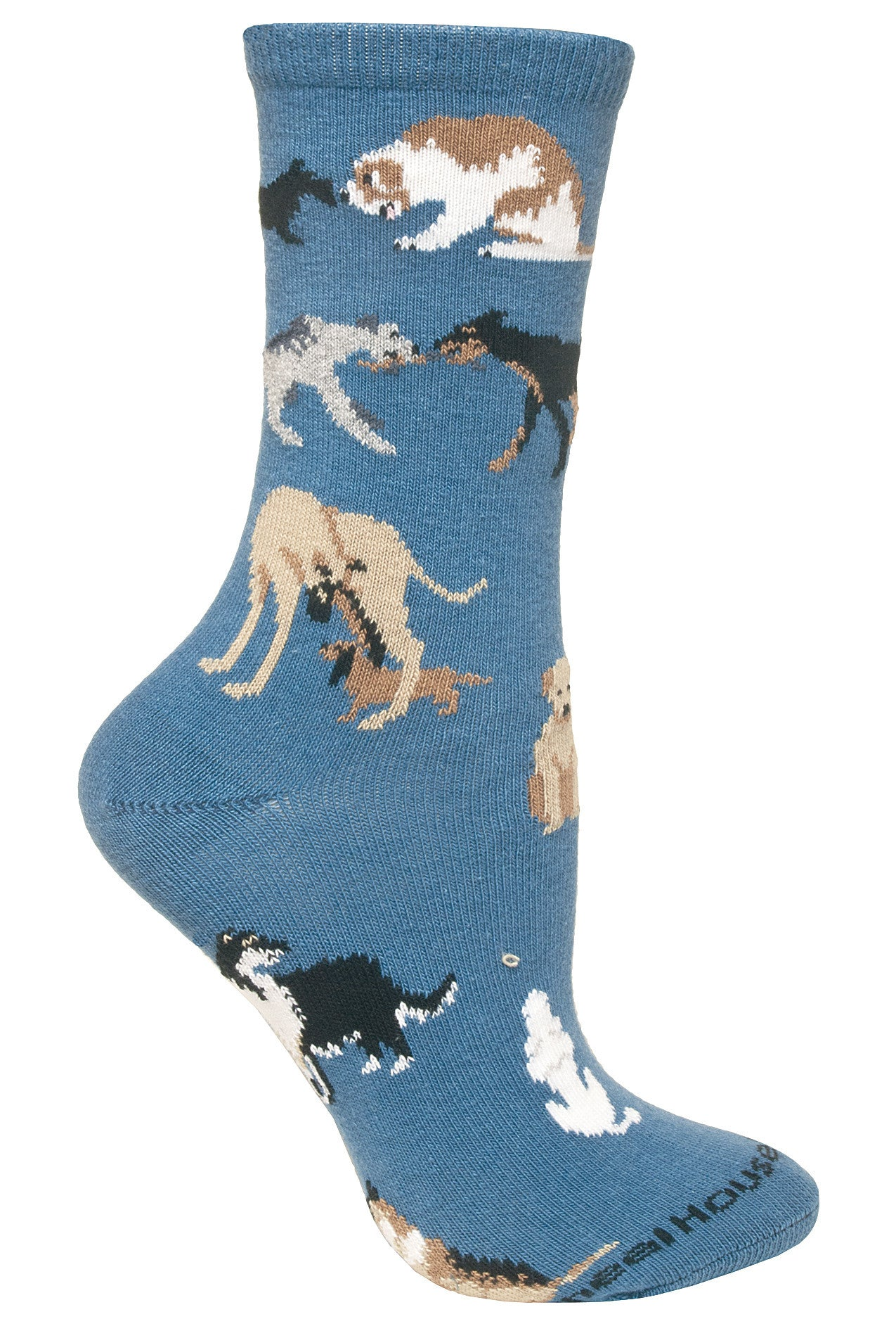 Dogs All Over on Blue Crew Socks