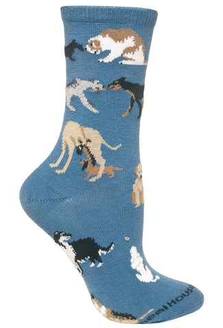 Dogs All Over on Blue Socks