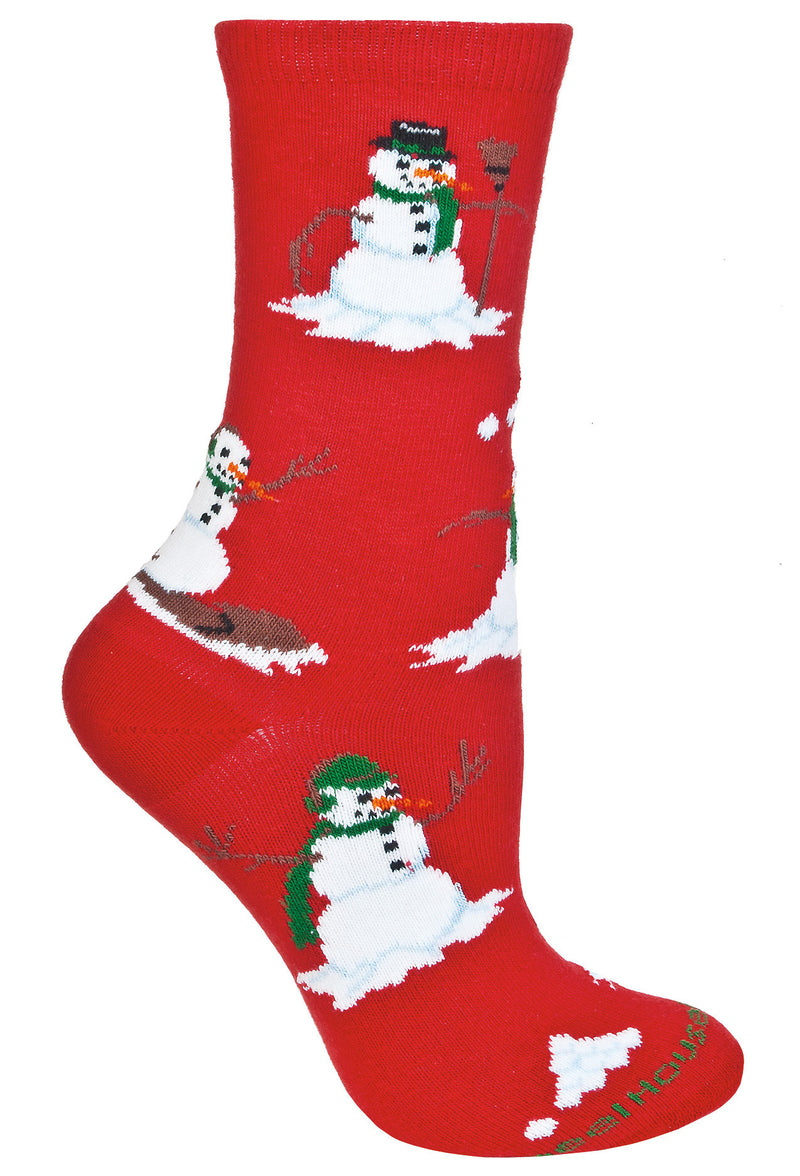 Snowmen Crew Socks on Red