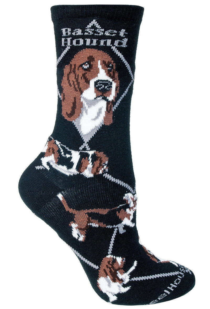 Basset Hound Crew Socks on Black