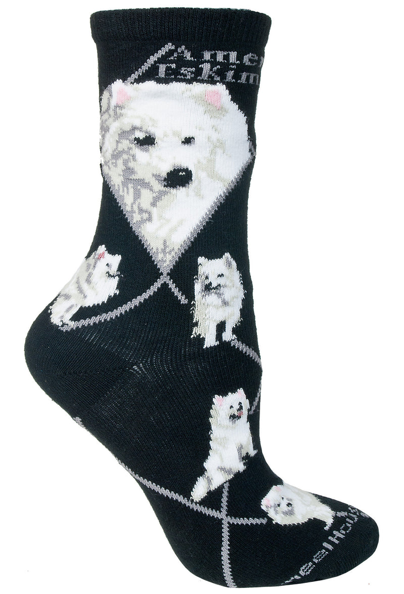 American Eskimo Crew Socks on Black