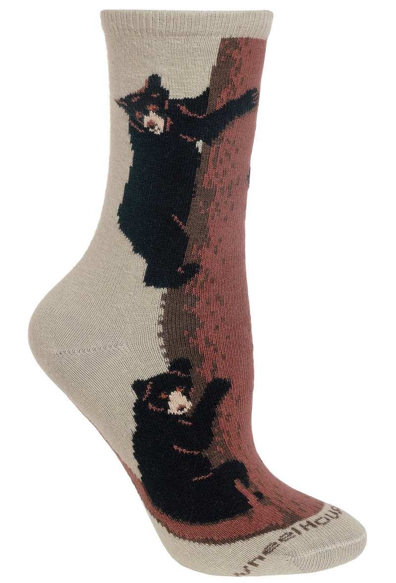 Bear Climbing Tree Crew Socks on Stone