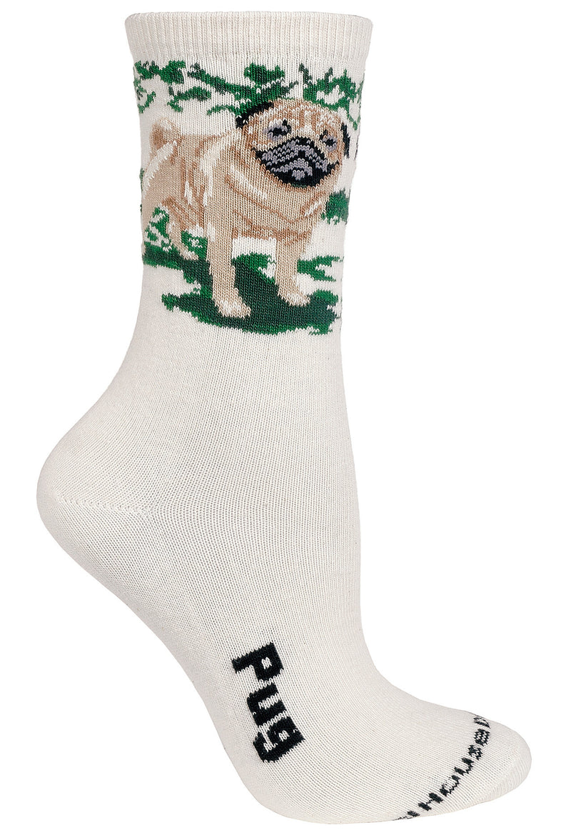 Fawn Pug on Natural Crew Socks
