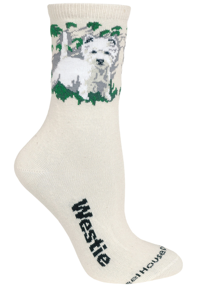 West Highland Terrier Crew Socks on Natural
