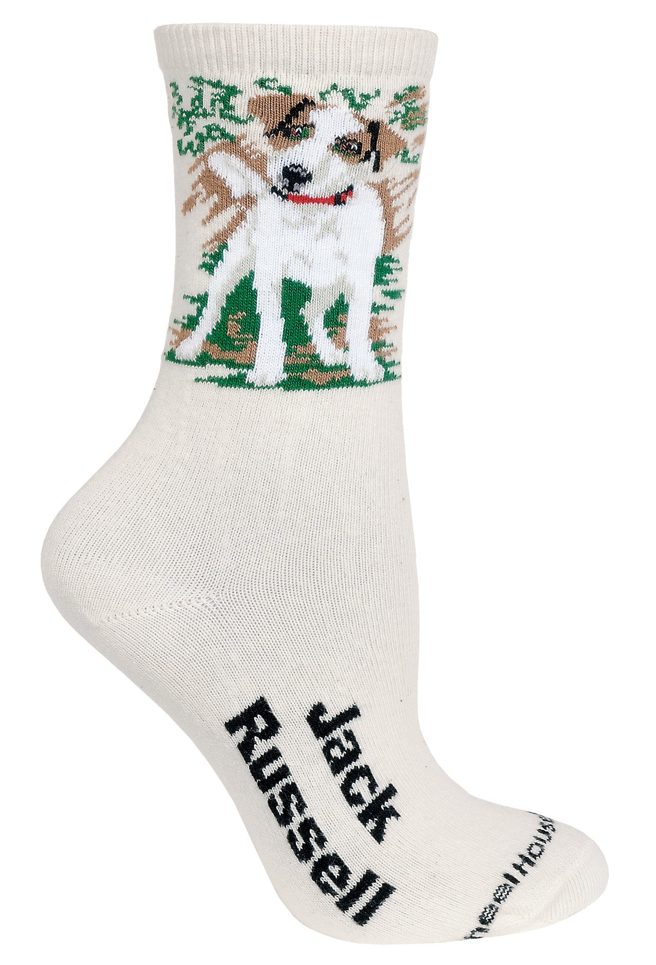 Jack Russell Terrier Crew Socks on Natural