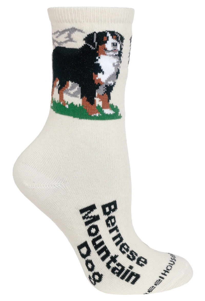 Bernese Mountain Dog Crew Socks on Natural