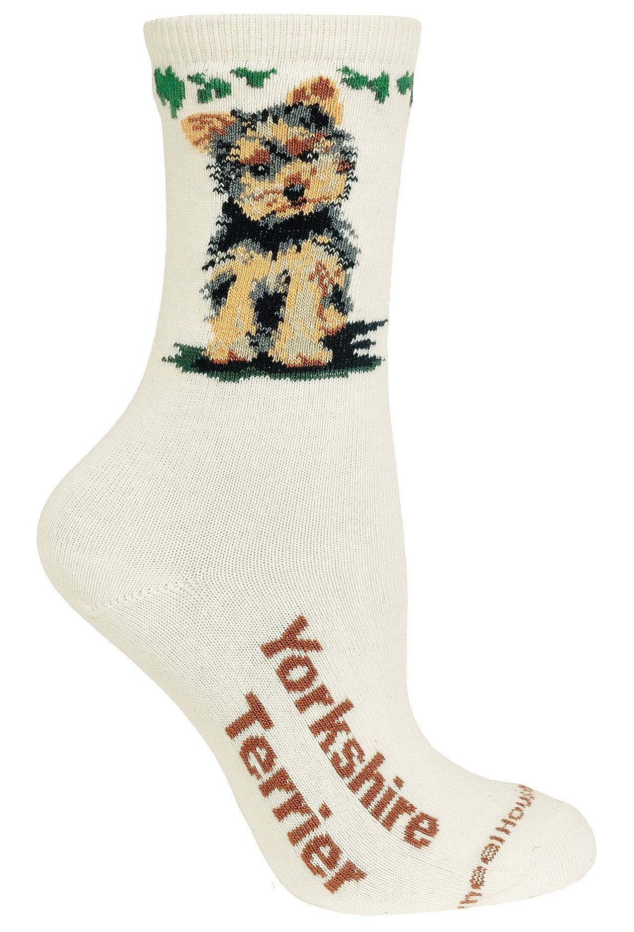 Puppy Cut Yorkshire Terrier on Natural Crew Socks