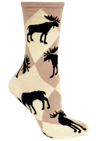 Moose, Diamonds on Natural/Tan Socks