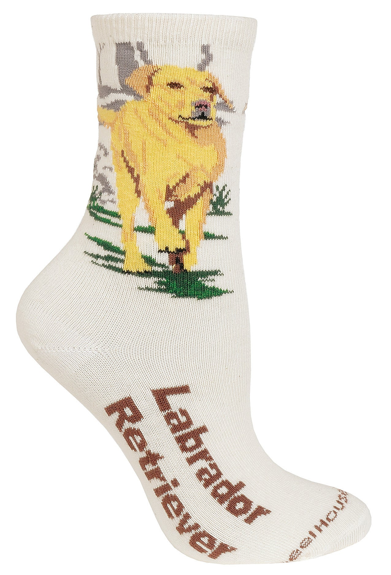 Yellow Labrador on Natural Crew Socks