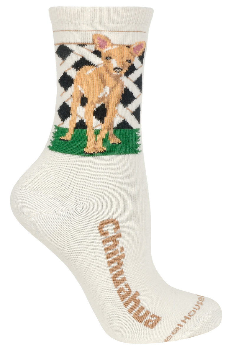 Chihuahua Crew Socks on Natural