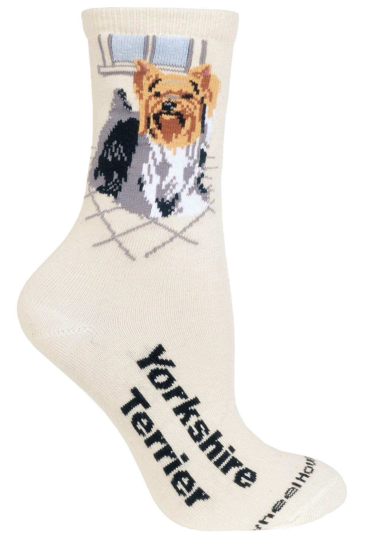 Yorkshire Terrier Crew Socks on Natural
