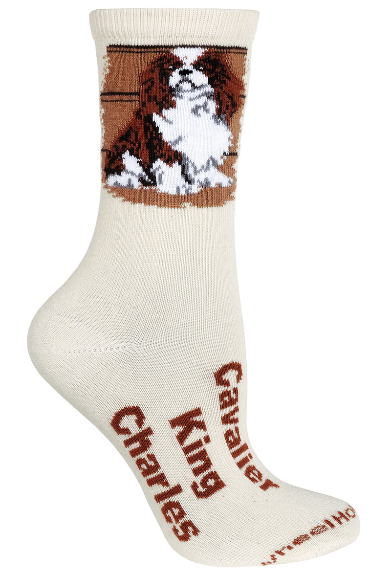 Cavalier King Charles Spaniel Crew Socks on Natural
