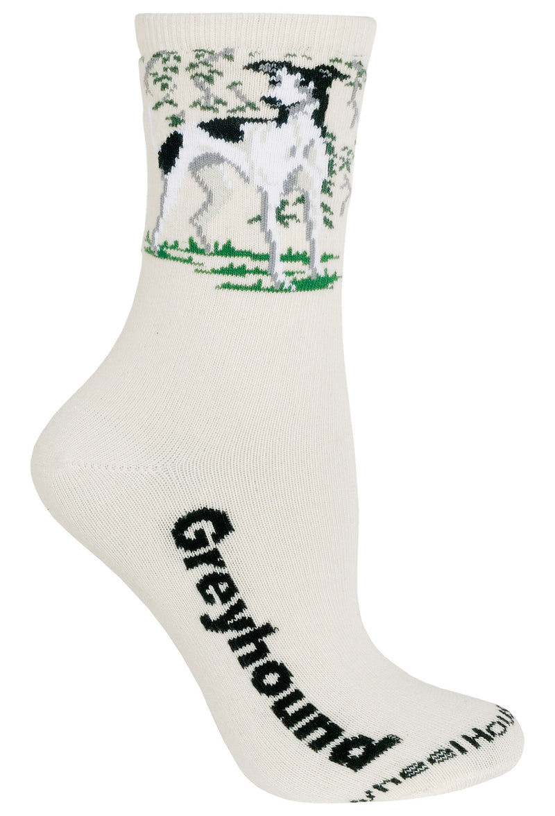 Greyhound Crew Socks on Natural