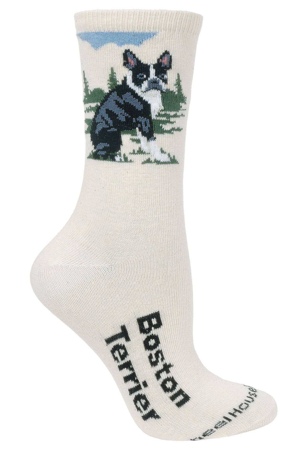 Boston Terrier Crew Socks on Natural