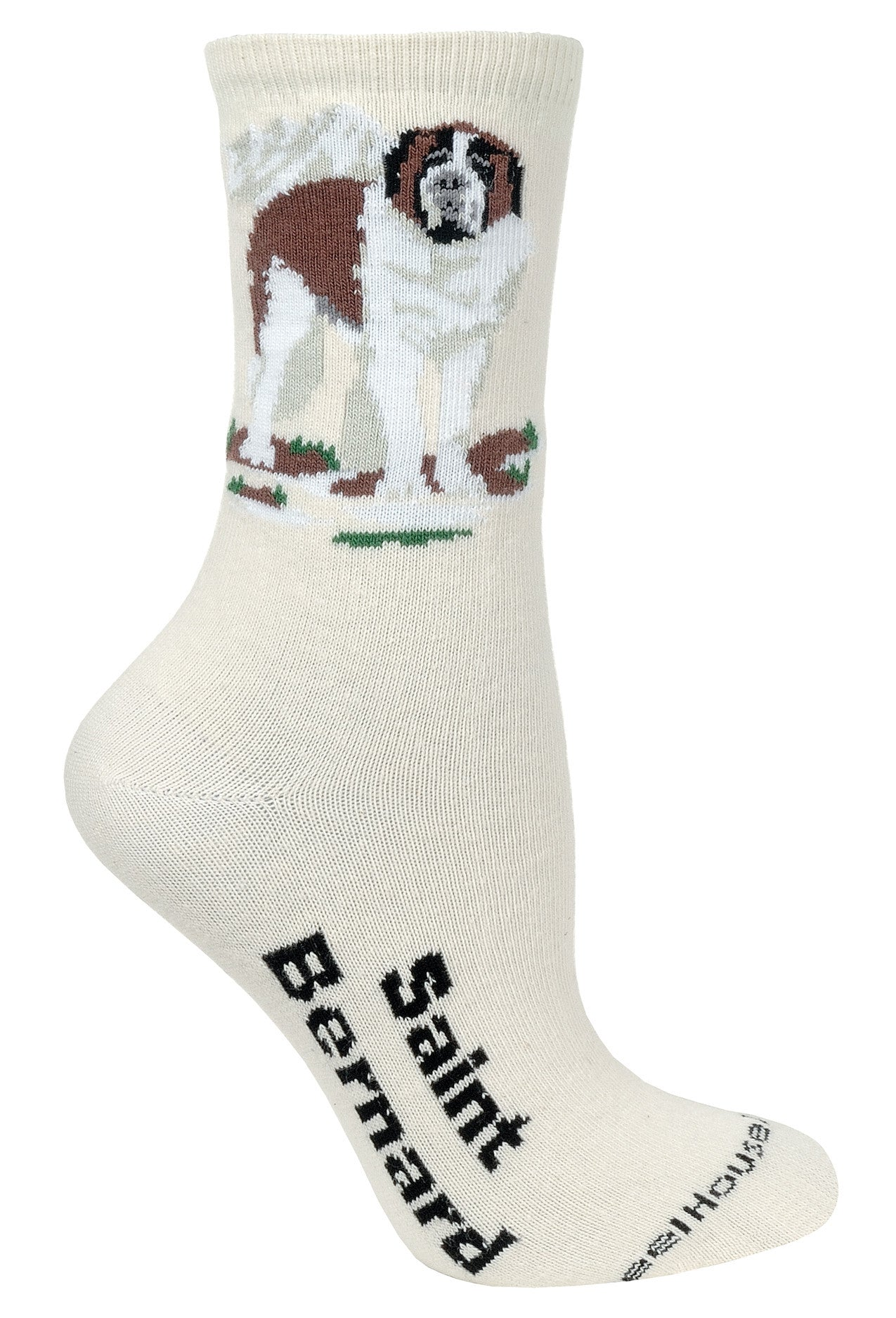 Saint Bernard Crew Socks on Natural