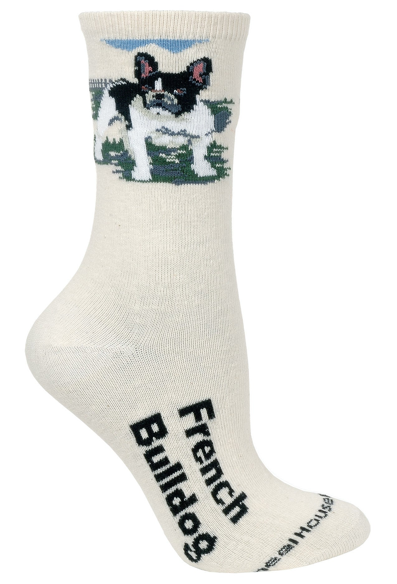 French Bulldog on Natural Socks
