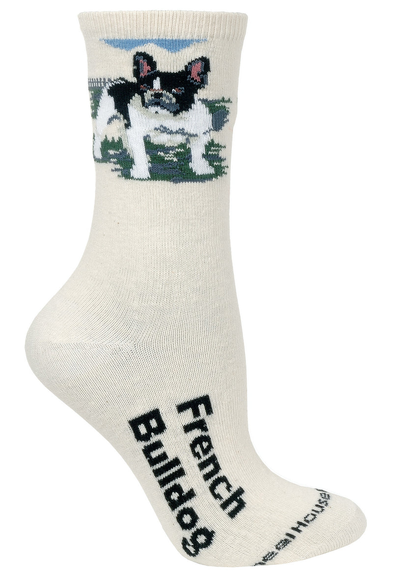 French Bulldog Crew Socks on Natural