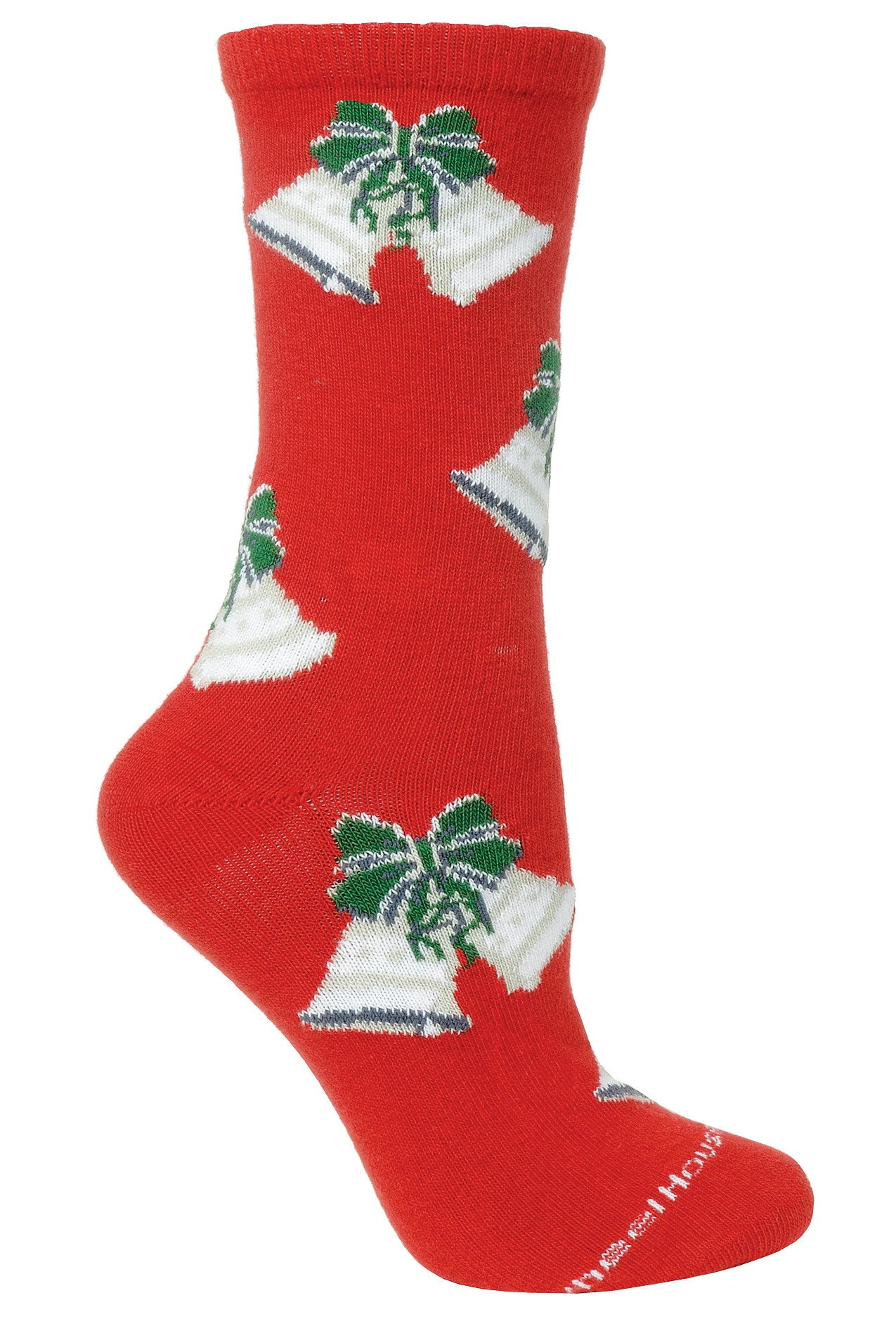 Silver Bells Crew Socks on Red