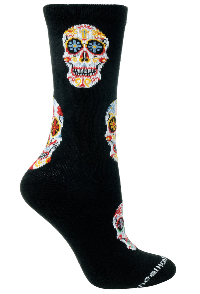 Day of the Dead on Black Socks