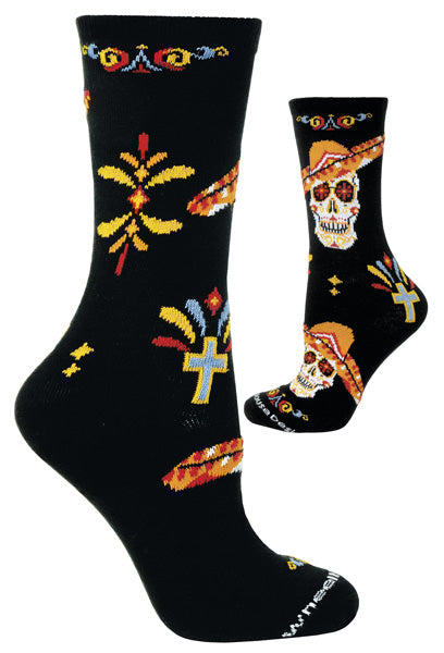 Day of the Dead Sombrero Crew Socks on Black
