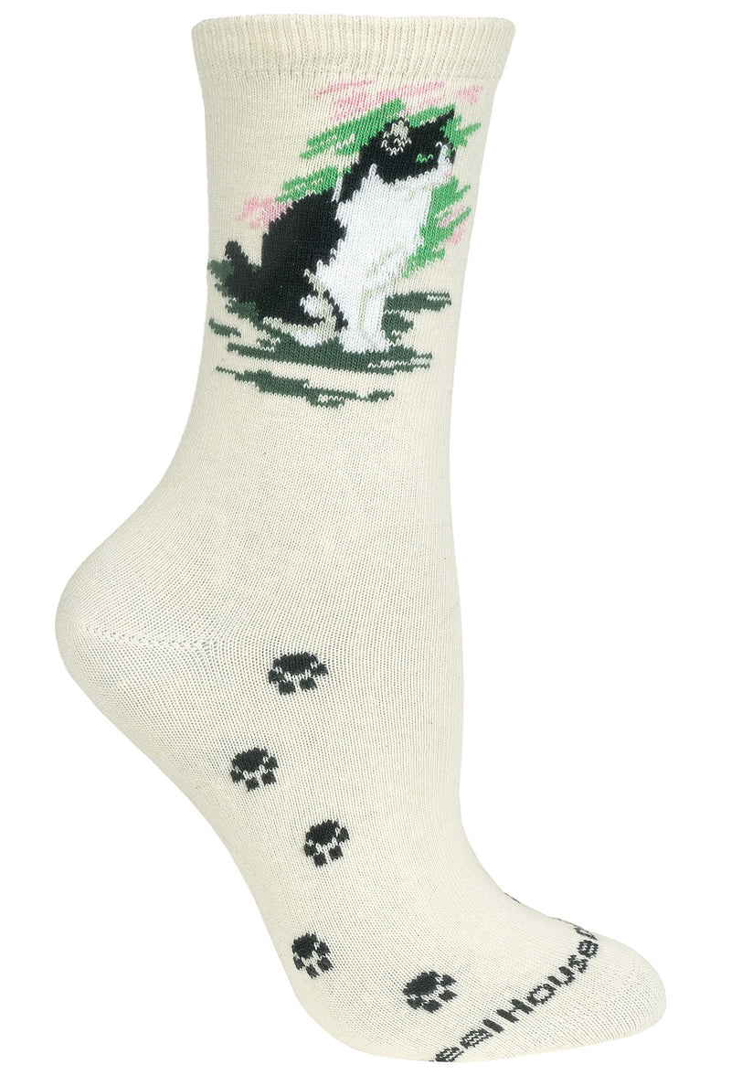 Tuxedo Cat Crew Socks on Natural